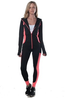 3075N-AYS232-Black/Coral -Ladies Active 2 Pcs Set Hooded Outfit / 1-2-2-1**available in color Grey, Charcoal**
