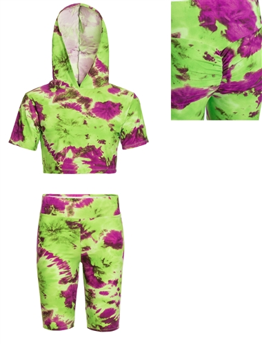 Women's Camo or Tie-Dye Crop Top and Back Ruched Biker Shorts Set