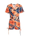 Women's Camo or Tie-Dye Faux Wrap Drawstring Ruched Sides Romper