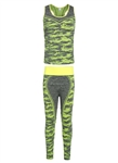Women's Seamless Sports Bra and Leggings Set with Neon Accents