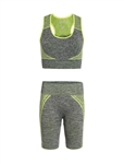 Women's Seamless Sports Bra and Biker Shorts Set with Neon Accents