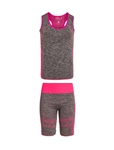 Women's Seamless Tank Top and Biker Shorts Set with Neon Accents