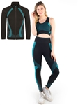 SJ1011-Black-Women's 3-Piece Seamless Jacket, Sports Bra and Leggings Set