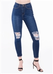 Ladies Fitted Stretchable Super Skinny Jeans with Mock Front Pockets