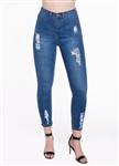 Ladies Ripped Stretchable Super Skinny Jeans with Mock Front Pockets
