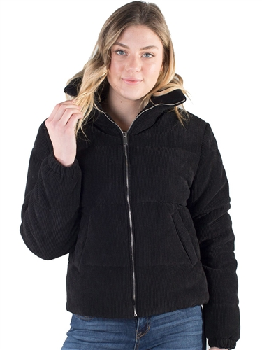 SP159-Women's Corduroy Puffer Jacket with High Shine Zippers