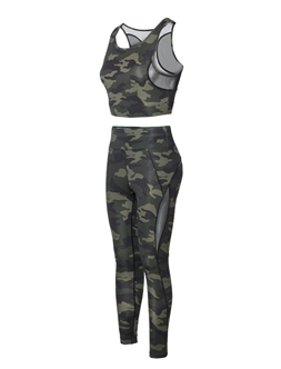 Women's Active Sports Bra and Leggings Set with Mesh Accents