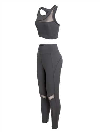 Women's Plus Size Active Sports Bra and Leggings Set with Mesh Accents