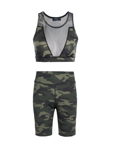 Women's Camo Print Mesh Accent Sports Bra and Biker Shorts Set