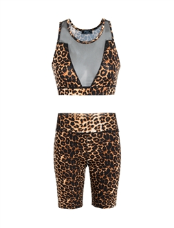 Women's Leopard Print Mesh Accent Sports Bra and Biker Shorts Set