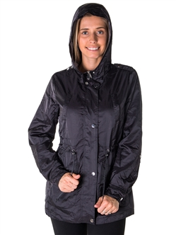 Ladies Zip Up Light Weight Nylon Anorak Jacket, Waterproof, Jersey Lined Hood, Roll Up Sleeve & Waistband String By Special One/ 1-2-2-1 **Available colors in Olive & Mauve**