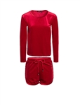 Women's Velour Long Sleeve Top and Shorts Set/