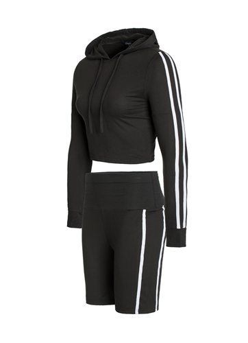 Women's Biker Shorts and Crop Pullover Hoodie Set with Side Stripes/
