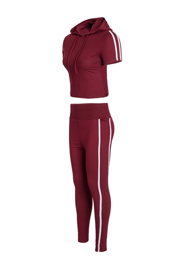 Women's Leggings and Crop Pullover Hoodie Set with Side Stripes/
