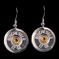 Shot Gun Earrings 12 Gauge Silver and Gold