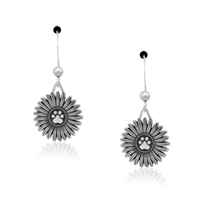 Sterling Silver Flower Pawer Earrings