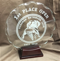 GLASS SCALLOPED EDGE AWARD WITH WOOD BASE