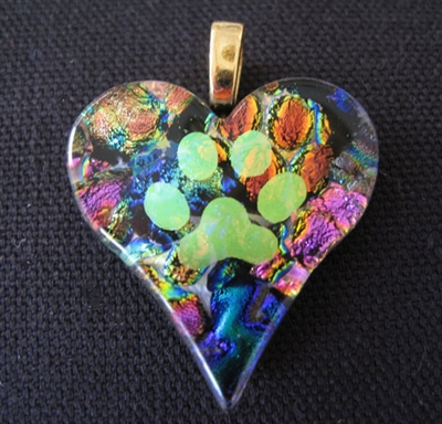 Glass Dichroic Heart with Paw Pendant