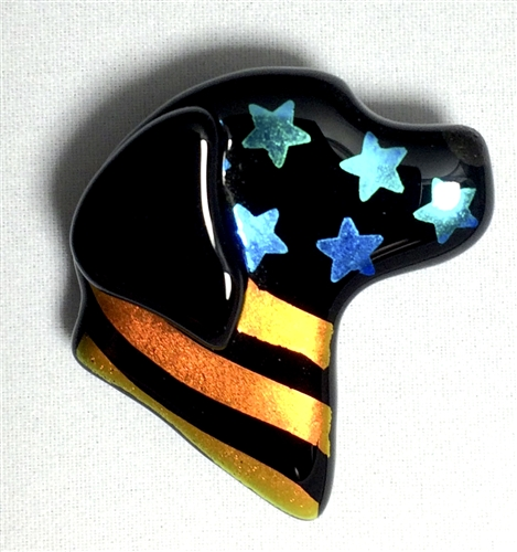 Stars and Stripes Lucky Lab Pin