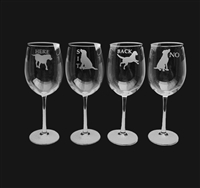 Labrador Retriever Wine Glasses set of 4 - No, Here, Sit & Back