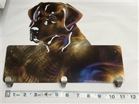 RETRIEVER HEAD COLORED METAL WALL HANGING WITH 3 HOOKS