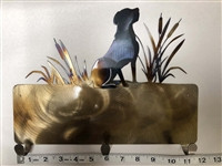 RETRIEVER WITH CATTAILS COLORED METAL WALL HANGING WITH 3 HOOKS