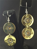 12 Gauge Winchester Double Dangle Gold Earrings