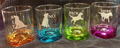 Short & Tall Colorful Glasses No, Here, Sit and Back