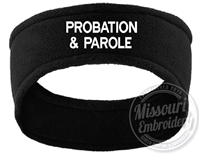 PROBATION & PAROLE Embroidered Fleece Ear warmer
