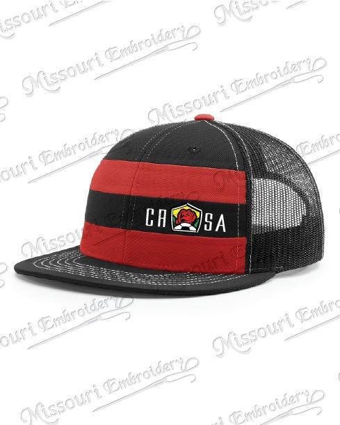 CRSA RED   BLACK STRIPED TRUCKER HAT cf40d6c8330e
