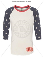 MONOGRAMMED STARS AND STRIPES 3/4 SLEEVE SHIRT