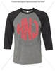 JUMBO CIRCLE MONOGRAM BASEBALL T - GREY/CHARCOAL BLACK