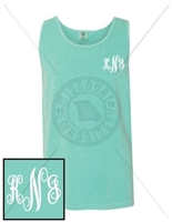 CHALKY MINT FANCY EMB LC MONOGRAM TANK
