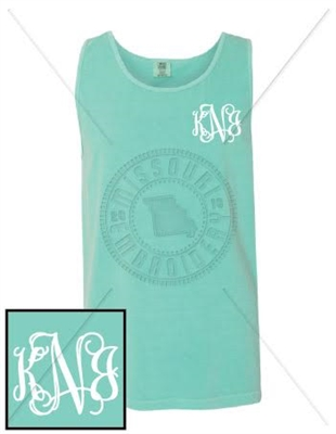 CHALKY MINT INTERTWINED EMB LC MONOGRAM TANK