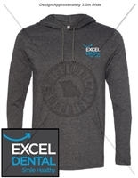 EXCEL DENTAL LIGHTWEIGHT LONG SLEEVE HOODED SHIRT- UNISEX CUT