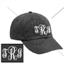 CHARCOAL FANCY MONOGRAM HAT