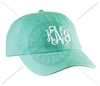 SEAFOAM INTERTWINED MONOGRAM HAT