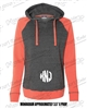 WOMEN'S HOT CORAL CHARCOAL HOODIE WITH CIRCLE MONOGRAM ON POCKET