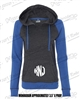 WOMEN'S HYPER BLUE CHARCOAL HOODIE WITH CIRCLE MONOGRAM ON POCKET