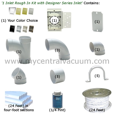 Central Vacuum 1 Inlet Rough In Kit with Designer Series Inlet - 8 Finish Choices