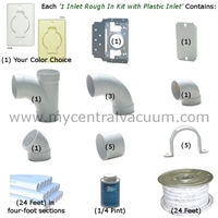 Central Vacuum 1 Inlet Rough In Installation Kit with Standard Plastic Inlet - 2 Finish Choices