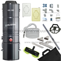 Galaxie GA-80 Powered 3 Inlet Kit for the Hard Floor Home with Pistol Grip Hose and Hard Floor Cleaning Set