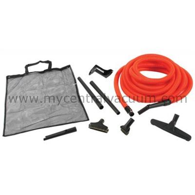 Premium Garage Cleaning Tool Kit for Your Central Vacuum with 50ft Orange Hose.