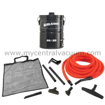 Our Standard Garage Vacuum Package. Central Vacuum System Power for Your Garage or Workshop. Galaxie GA-20 Power Unit with Hose and Tools.