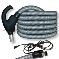 Comfort Grip Handle Electrified Hose with System On-Off AND Electric Brush On-Off Switch. Pigtail Corded Wall Connection. 30 and 35 Foot.