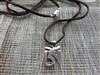 Silver OM Pendant - brown leather