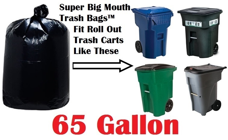 65 Gallon Garbage Bags Super Big Mouth Garbage Bags 65 GAL Trash