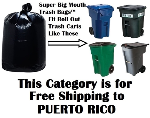 free shipping to puerto rico pr for 64 65 95 u0026 96 gallon trash bags for roll out roller trash carts with wheels toter otto waste management rubbermaid