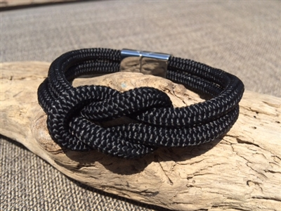 Mariner Black Nautical Bracelet crafted with authentic marine line and stainless steel clasp available in sizes small through extra large.