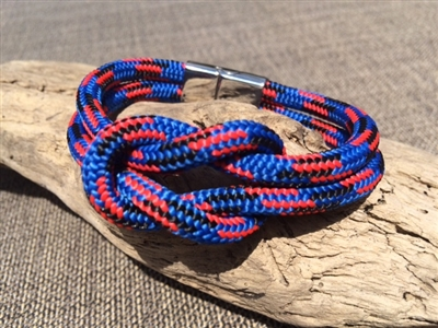 Mariner Blue Nautical Bracelet crafted with authentic marine line and stainless steel clasp available in sizes small through extra large.